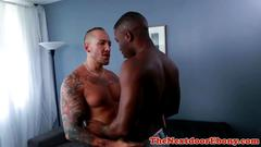 Muscular black stud on interracial affair