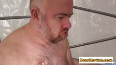 Versatile chubby bears breeding in sex swing