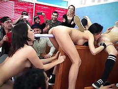 Latinas enjoy hot lesbian orgy