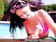 Hot teen fucked in the pool
