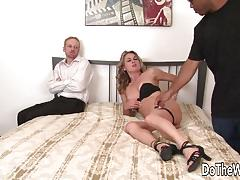 Horny wife getting pounded in her pussy by a black dick