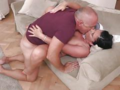 Old couple in passionate love making