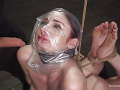 bdsm, babe, redhead, blowjob, big dick, suffocation, plastic bag, rope bondage, slave training, the training of o, kink, violet monroe, tommy pistol