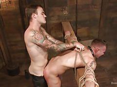 tattooed, rope bondage, bdsm, blowjob, anal, from behind, device bondage, bound gods, kink men, christian wilde, chris harder