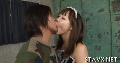 Asiatic brunette maid is ready to please her handsome man