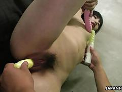 Slutty asian babe getting her wet pussy finger fucked