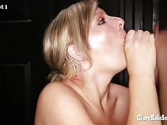 Gloryhole blonde enjoys mouthfuls of cum