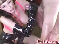 Shanda fay jerks off hard cock with latex gloves!