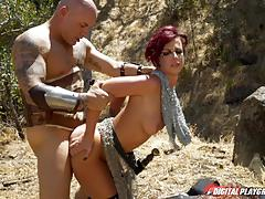 Sexy warrior jada stevens has her muff rammed outdoors