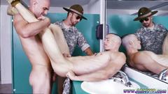 Bald army dude gets nailed in the toiled by two hunks