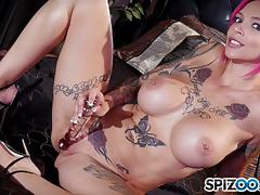 anna bell peaks, masturbation, solo, cute, pink hair, tattooed