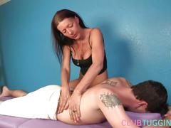 Busty cougar masseuse jerking and titfucking