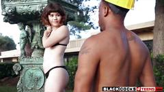 Asian teen yhivi screwed by throbbing black cock outdoors