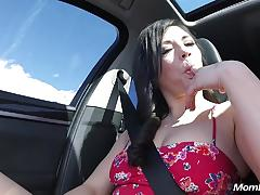 Bubble butt milf swallows cock in public