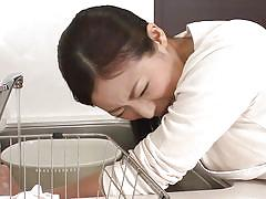 Gorgeous japanese milf gets her pussy eaten by two men