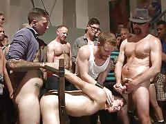 public, blindfolded, bdsm, blowjob, group sex, gangbang, anal, from behind, device bondage, bound in public, kink men, christian wilde, corbin dallas, dylan strokes