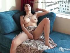 Naughty luciferra vibrated her shaved pussy