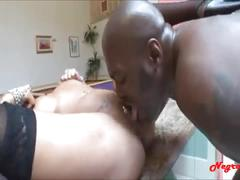Big titty attention bitch gets monster black cock up the ass and facial