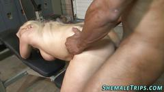 Shemale gets bbc creampie