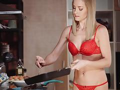 Steak and blowjob day fun with hot blonde