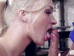 Hot steak and blowjob fuck with hot waitress