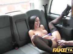 Fake taxi petite brunette gets creampied