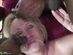 Mature housewife goes interracial