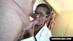 Kinky chick with glasses gets pounded by fat mature guy