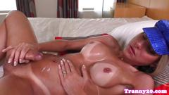 Tanlined trap pulling her cock solo