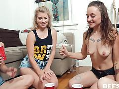 arya fae, kristen scott, blowjob, riding, doggystyle, facial, reverse cowgirl, strip, party, cowgirl