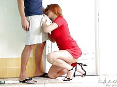 Milf gives a blowjob and takes a creampie @ milf creampies #02