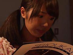 Japanese shibari babe masturbates