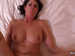 milf, f, brunette, masturbation, fingering, missionary, shaved, tattoo, cumshot, facial