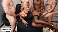 Big ass dark skinned latina tranny gangbang fucked