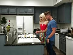 elsa jean, blowjob, riding, doggystyle, cumshot, facial, blonde, reverse cowgirl, kitchen, cowgirl, pussy licking, sucking