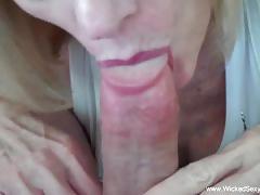 Granny throat fucks this hard dick