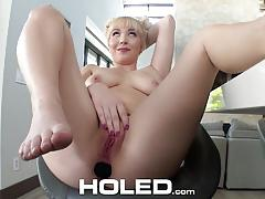 Holed quirky blonde card player velvet rain asshole fucked