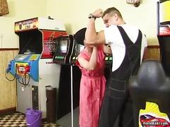Hairy granny takes young cock on the pool table