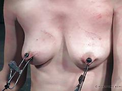 bdsm, babe, redhead, whipping, domination, crying, nipple clamps, device bondage, plastic wrap, real time bondage, violet monroe, freya french
