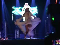 Wild flexi stepmom naked on stage