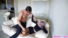 Petite porn star babe with purple hair bareback fucked by movie star