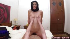 Gorgeous arab cutie riding cock like cowgirl