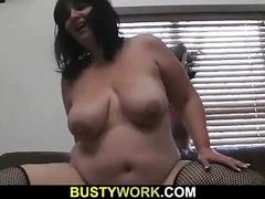 Busty bitch in fishnets rides black meat