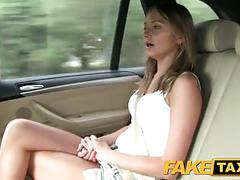 Faketaxi hot blonde in tight denim shorts