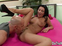 Hot wife takes large cock while husband watches