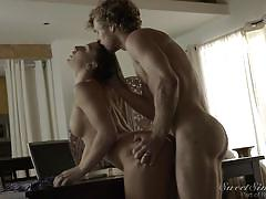 babe, mistress, brunette, hairy pussy, from behind, sideways, standing sex, cheating husband, sweet sinner, michael vegas, abella danger