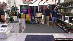 Busty brunette babe shows tits and fucks big cock in pawnshop