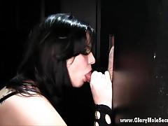 Chubby emo girl sucks strangers at a gloryhole