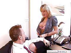 milf, blonde, big tits, blowjob, office sex, big dick, titjob, undressing, naughty office, naughty america, velicity von, tom byron