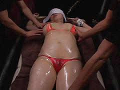 Oiled japanese milf gets dominated by two horny men